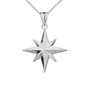 925 Sterling Silver North Star Pendant Necklace